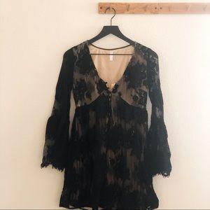 Xhilaration Black Lace Babydoll Bell-sleeve Dress